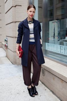 longer jacket over slouchy striped pants
