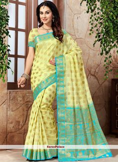 You will be confident to make a strong style statement with this yellow art silk traditional saree. Beautified with weaving work all synchronized very well with the design and style and design of the. New Saree Designs, Yellow Online, Indian Sarees Online, Yellow Art, Designer Sarees Online, Latest Sarees, Traditional Sarees, Weaving Art, Indian Beauty Saree