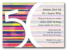 Fifty Stripes - Birthday Invitations by Invitation Consultants. (Item # TX-RFA3051FC-686 )