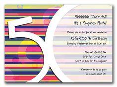 Fifty Stripes - Birthday Invitations by Invitation Consultants. (Item # TX-RFA3051FC-686 )