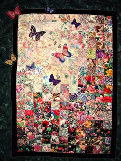 Spring Garden Butterfly Water Color Quilted Wall Hanging