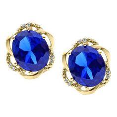 Bold Oval Cut Blue Sapphire Gemstone Diamond Yellow Gold Earrings by gemologica on Etsy