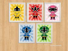 Power Rangers Set of 5 SamuraiInspiredPrints by LovelyDesings Samurai Power Rangers, Go Go Power Rangers, Power Ranger Party, Power Ranger Birthday, Nursery Supplies, Party Supplies, Tortas Power Rangers, Powe Rangers, Avengers