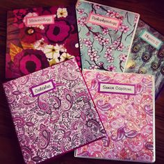 Floral, paisley and peacock DIY Binder covers made with scrapbooking paper! So cute for college!