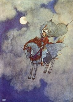 Edmund Dulac, illustration for The Magic Horse, from Stories from The Arabian Nights as retold by Lawrence Housman, 1907