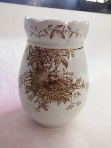 Aesthetic Movement Ironstone Brown Transferware Bird in Nest with Eggs Wilkinson