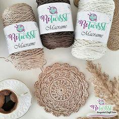 """ReTwisst Macrame yarn"" is a lightweight craftyarn which is made of new recycled fibers. It is very easy to crochet and knit your projects (home accessories, fashion garments, amigurumies...) Compared to other conventional macrame yarns it consists of 80% cotton. Each roll has a weight of 250 gr and a lenght of  250m. It is a enough to crochet or knit a surface of 70cm x 70cm. For best results we reccomend to use a crochet hook and knitting needle 2 - 4 mm. #macrame"