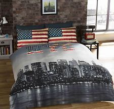 KING NEW YORK CITY AMERICAN REVERSIBLE COTTON BLEND BLUE COMFORTER DUVET COVER