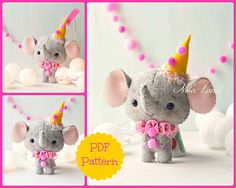 This PDF hand sewing pattern will give you instructions and patterns to make the Elephant pictured.  Size: 6.5 approximately.  Language: English  THIS IS NOT A FINISHED DOLLS.  THIS PDF e-Pattern includes: . Step by step photo tutorial. . A material and supply list. . Full size pattern pieces just Print and Sew! (No need to enlarge or resize!)  Skill Level: intermediate  Items made using this pattern may be sold in your own shop. Mass production, re-sale and distribution of pattern pieces…