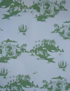 Peter Pan Wallpaper (Green on Cream) by Emma Molony