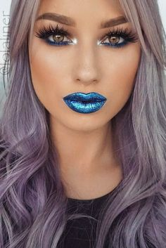 Catch up with the newest blue lipstick trend. Explore the collection of the best shades, including purple lip color. Find out how to pull it off.