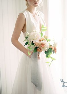 Light and airy bridal bouquet #weddingflowers #bouquet #white #peach