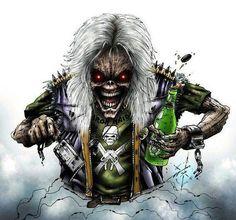 DeviantArt: More Like Eddie vs Vic Rattlehead by GavinMichelli Iron Maiden Mascot, Iron Maiden The Trooper, Hard Rock, Heavy Metal Bands, Iron Maiden Cover, Vic Rattlehead, Iron Maiden Posters, Eddie The Head, Grim Reaper Art