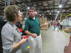 Brandware President and CEO Elke Martin taking a tour of the @Okabashi Shoes factory located in Buford, Georgia.