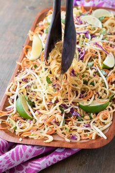 Pad Thai Salad with Spiralized Green Papaya and Spicy Peanut Dressing  - BoulderLocavore.com