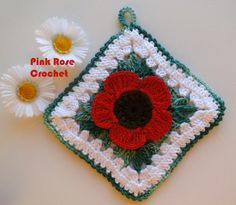 Pink Rose Crochet: Handle Flower Pots Flower in Square Poppy Flower