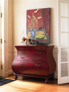 Red bombe chest by my friends at Hooker Furniture Company