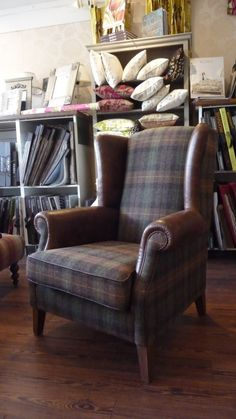 Arm Chair decoration by dan snyder added luxury red leather wingback chair library harris tweed ideas with 2088 x 3712 Px (total 7 pictures). Plaid Living Room, Living Room Chairs, Dining Chairs, Side Chairs, Furniture Makeover, Home Furniture, Leather Wingback Chair, Wingback Chairs, Plaid Chair