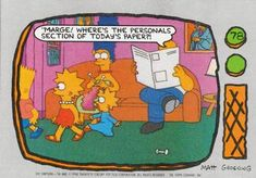1990 Topps The Simpsons #78 Marge! Where's the personals section of today Front