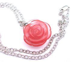 Carved rose pendant, strawberry quartz pendant, stone rose necklace, carved stone pendant, quartz necklace, rose jewelry by sparklecityjewelry on Etsy https://www.etsy.com/listing/231860288/carved-rose-pendant-strawberry-quartz