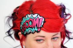 Pow! Blam! Boom! KABOOM! Fun cartoon style headband with Kaboom with and blast and cloud. Totally classic comic style! This headband is lightweight