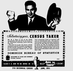 1951 Canadian Census ad and links to Canadian Online Census records