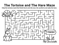 The Tortoise and the Hare Maze - easy Mazes For Kids Printable, Free Printable Worksheets, Free Printables, 1st Grade Worksheets, Worksheets For Kids, Hare & Tortoise, Library Activities, Alphabet Activities, Maze Book