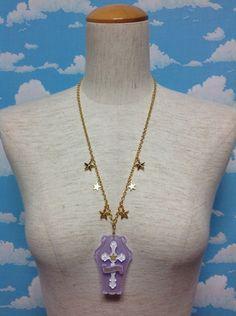 Horror Coffin Necklace in Lavender from Angelic Pretty - Lolita Desu