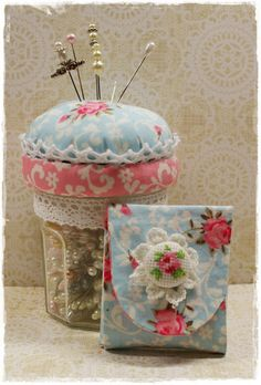 I like how the jar lid is covered then adding a pin cushion on top.