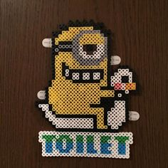 Minion toilet sign perler beads by syaekya Easy Perler Bead Patterns, Diy Perler Beads, Perler Bead Art, Pearler Beads, Pixel Beads, Fuse Beads, Minions, Pixel Art, Hamma Beads Ideas