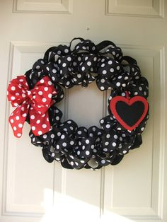 Valentines Day Black and White Polka Dot Ribbon Wreath with Red Polka Dot Bow and Black and Red Heart by TowerDoorDecor, $35.00