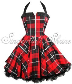 HELL BUNNY New 2011 ~ZiPPeR~ Red Tartan Punk Dress 6-16
