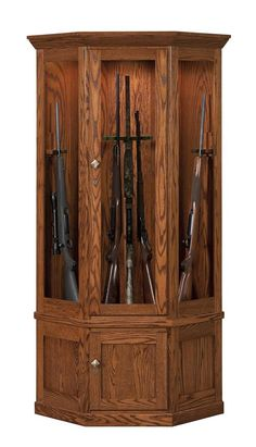 Perfect Amish Mission 14 Gun Corner Cabinet With Carousel