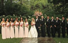 Long pink bridesmaid dresses with classy black tuxedos for the men. See more from this dreamy pink garden wedding in Nashville by @cjones8790! | The Pink Bride® www.thepinkbride.com