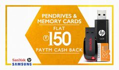 Get Flat Rs 150 Cashback on Pen Drives & Memory Cards at Paytm  #PenDrive #USB #MemoryCard #Paytm #Shopping #Cashback #Discount #Deals #Offers