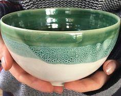 Ceramic handmade bowl - aqua and white ceramic handmade bowl aqua and white Pottery Bowls, Ceramic Bowls, Ceramic Pottery, Pottery Art, Pottery Painting, Ceramic Painting, Ceramic Art, Wheel Thrown Pottery, Earthenware