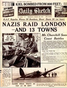 Front page of the Daily Sketch newspaper Thursday, August 29th, 1940.