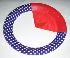 One section of a patterned paper plate is covered by a section of a plain paper plate to visually represent a fraction. Fractions Year 3, Teaching Fractions, Maths, Paper Plates, Education, Learning, Teaching, Studying