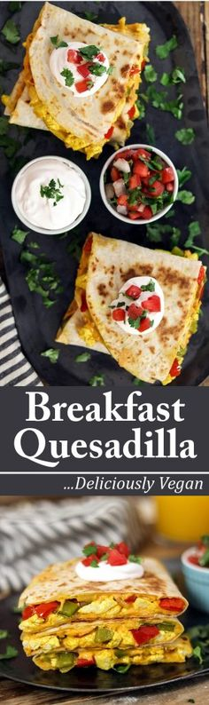 Satisfy your morning hunger with this loaded Vegan Breakfast Quesadilla. Vegan Breakfast Quesadilla - http://veganhuggs.com/vegan-breakfast-quesadilla/
