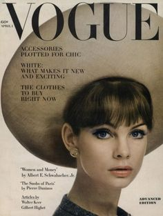 Jean Shrimpton is wearing a huge round hat of shiny biscuit baku by Dior, lipstick is jungle Peach by Revlon, cover photo by William Klein, Vogue, April 1963 Vogue Magazine Covers, Fashion Magazine Cover, Fashion Cover, Vogue Vintage, Vintage Vogue Covers, Vintage Fashion, Vintage Style, 1960s Fashion, Vintage Hats