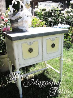 Sweet Magnolias Farm..Upcycled Sewing Machine Cabinet ... Available at the June 1st and 2nd Vintage Marketplace.