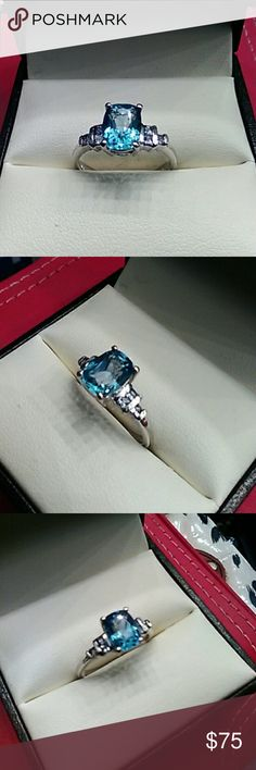 3 cts Blue Topaz & Tanzanite Platinum / 925 Ring Stunning all natural 3cts Blue Topaz & Tanzanite High Quality Stones, Set in platinum over solid 925 sterling silver. Vintage estate, Size 9. Jewelry Rings