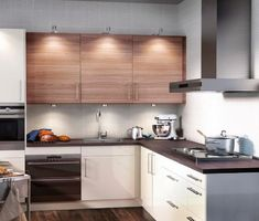 Chic Small Kitchen Design Ideas, Furniture Layout And Arrangement:  Magnificent Ikea Brown And White Polished Hardwood Kitchen Cabinets Set As  Decorate In ...