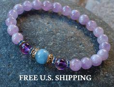 Anti stress, Aquamarine, Amethyst bracelet, yoga bracelet, energy mala, Meditation bracelet, Reiki, aquamarine bracelet, Mala, crown chakra