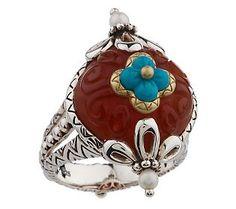 BIxbi carnelian and turquoise ring, in love!
