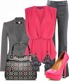 Gray Suit and pink blouse
