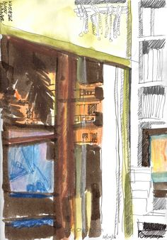 Day 191 - Watching Blade Runner Here is a late night/early morning doodle I did while watching a movie - the TV screen is reflected in the window. This was done in ink wash, watercolour and pencil. #Art #Drawing #Sketch #Urbansketching #WorldWatercolorGroup #Ink #TV #Movie #Night