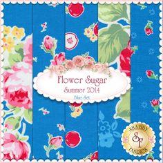 Flower Sugar Summer 2014 5 FQ Blue Set By Lecien Fabrics: Flower Sugar Summer 2014 is a collection by Lecien. 100% cotton.