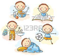 rutinas: Las actividades diarias del niño pequeño, no degradados
