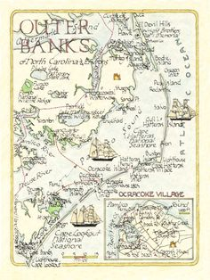 I want to have a watercolor map of the outer banks with spots of interest marked as part of the gift box for people traveling in. Note I'll have a custom one made with more color and a bit less stuff on it. North Carolina Coast, Outer Banks North Carolina, Outer Banks Nc, North Carolina Homes, Carolina Usa, East Coast, Kids Checklist, Hatteras Island, Map Globe